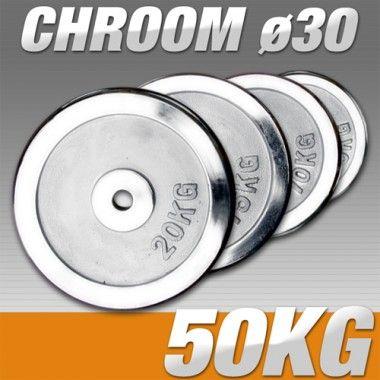 Set Halterschijven 50 kg - Chroom 30 mm