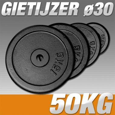 Set Halterschijven 50 kg - Gietijzer 30 mm