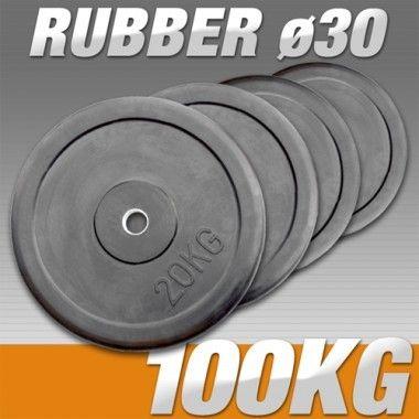 Set Halterschijven 100 kg - Rubber 30 mm