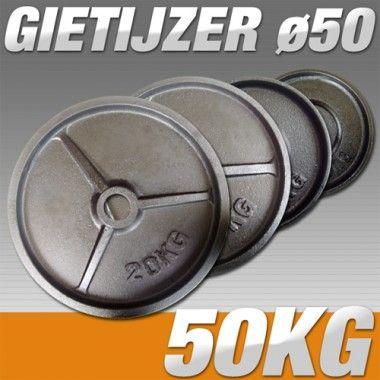 Set Halterschijven 50 kg - Gietijzer 50 mm