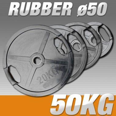 Set Halterschijven 50 kg - Rubber-Gripper 50 mm