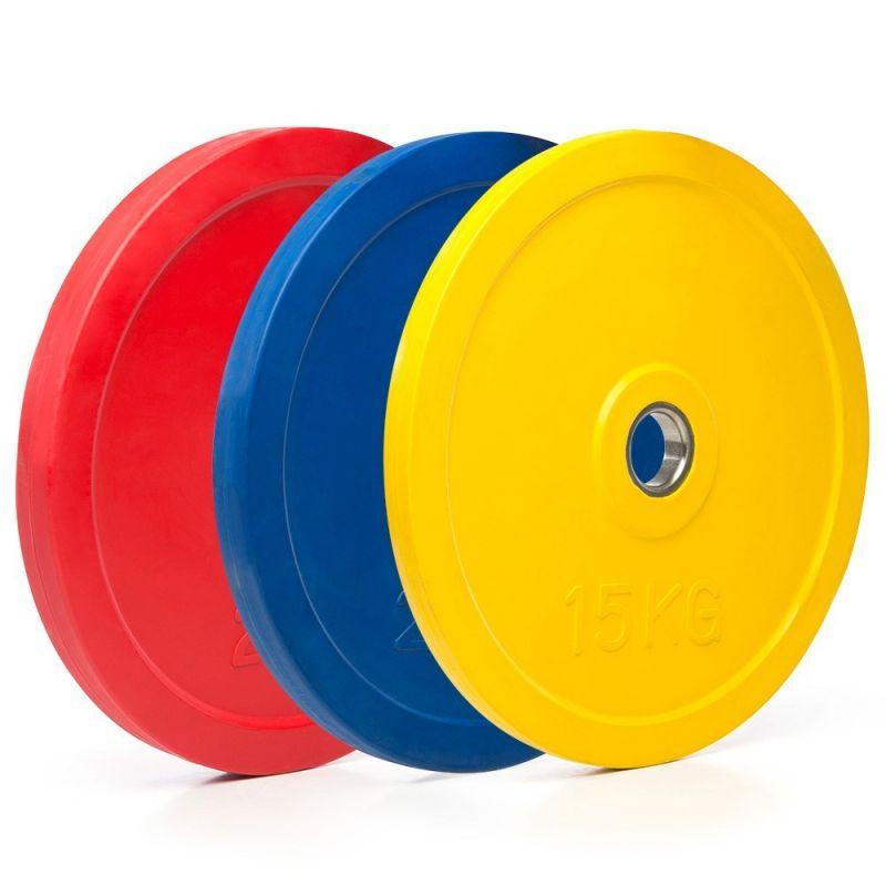 Rubberen gekleurde olympische halterschijven