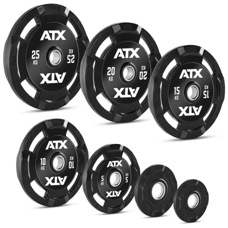 De ATX Rubberen 4-Grip Halterschijven 50 mm zijn verkrijgbaar in zeven verschillende gewichten