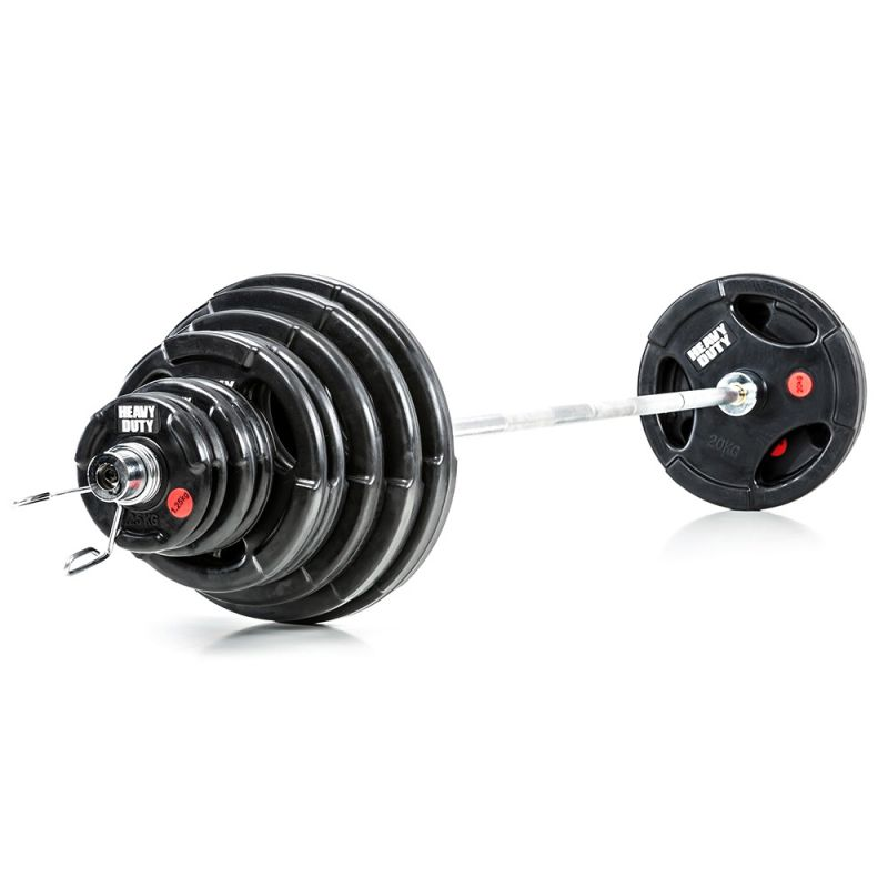 Olympische Halterset 140 kg Heavy Duty Rubber
