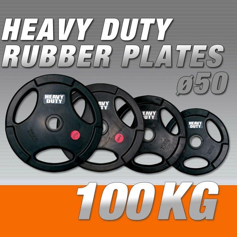 Set Halterschijven 100 kg - Rubber-Gripper Heavy Duty 50 mm