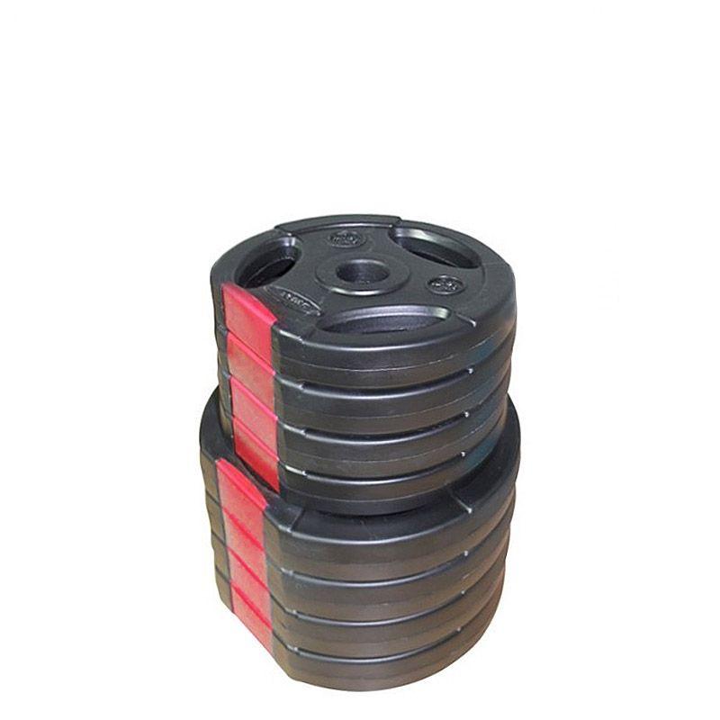 Set Halterschijven 30 kg - Kunststof-Gripper 30 mm