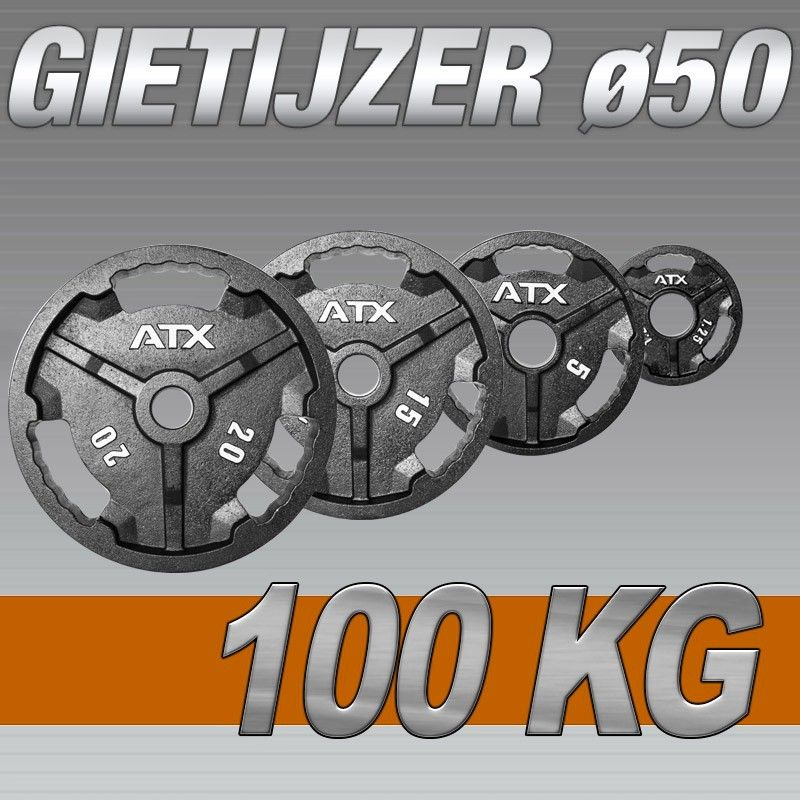 Set Halterschijven 100 kg - ATX Gietijzer 50 mm