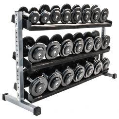 CHD Set Rubber 5-20 kg met Dumbbellrek