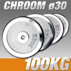 Set Halterschijven 100 kg - Chroom 30 mm