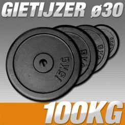 Set Halterschijven 100 kg - Gietijzer 30 mm