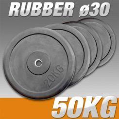 Set Halterschijven 50 kg - Rubber 30 mm