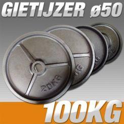 Set Halterschijven 100 kg - Gietijzer 50 mm