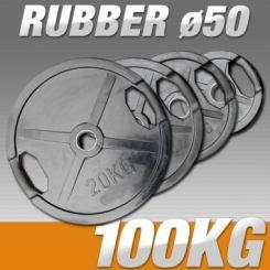 Set Halterschijven 100 kg - Rubber-Gripper 50 mm