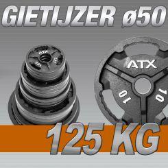 Set Halterschijven 125 kg - ATX Gietijzer 50 mm